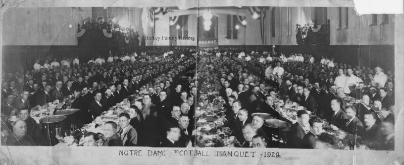 Reviewing the football banquet recruiting visitors