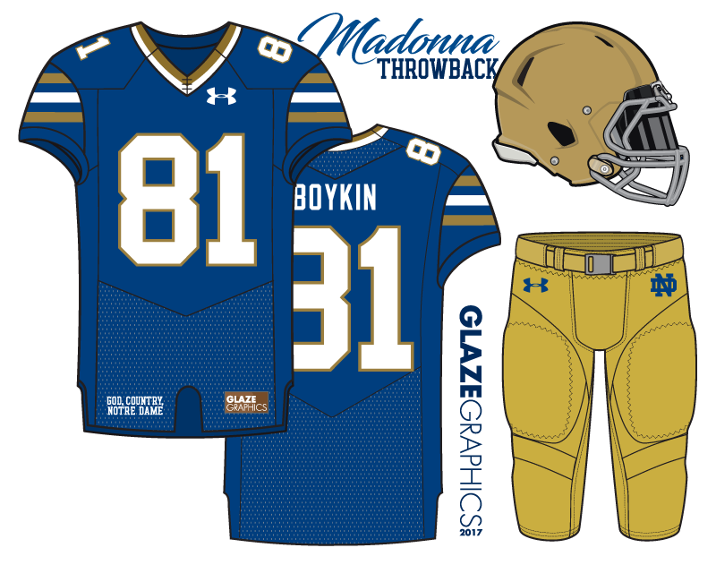 Notre Dame Football Uniform Concepts: Madonna Throwback